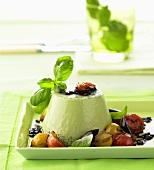 Basil panna cotta with tomato relish