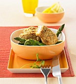 Catfish fillet in peanut crust