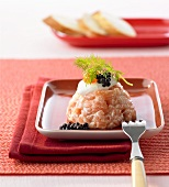 Salmon tartare with horseradish dip and caviar