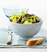 Duck salad with honey and orange dressing