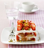 Strawberry and rhubarb tiramisu