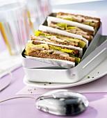 Chicken sandwiches in a sandwich box