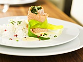 Salmon trout roll with rice