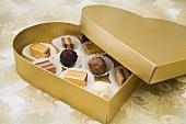 Chocolates in heart-shaped box