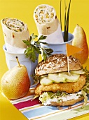 Chicken burger, wraps and pears