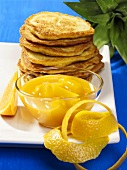 Potato pancakes with pineapple and caramel compote