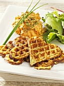 Potato waffles with pepper dip