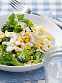 Pasta salad with broccoli and sweetcorn