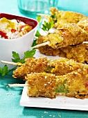 Chicken and vegetable skewers (deep-fried in batter)