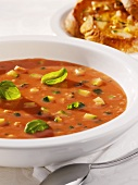 Tomato bread soup with courgettes
