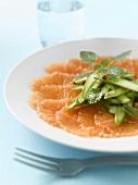 Grapefruit carpaccio with green asparagus