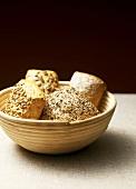 Wholemeal rolls in a bread basket
