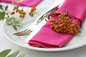 Place-setting with rowan berries