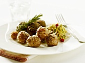 Medallions and potatoes with salt crust