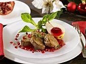 Wild boar medallions with pomegranate sauce