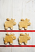 Four iced gingerbread elks