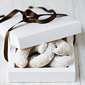 Vanilla crescents in a gift box