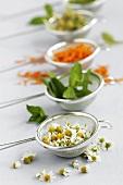 Verschiedene Kräuter und Blüten in kleinen Küchensieben