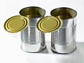 Two empty food tins with opened lids
