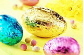 Coloured chocolate Easter eggs
