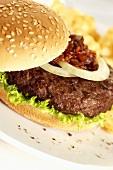 Hamburger with tomato relish