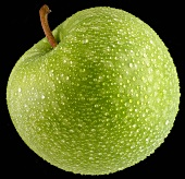 An apple with drops of water