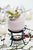 Elderberry and vanilla cream with pears