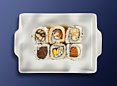 Assorted maki sushi on a platter
