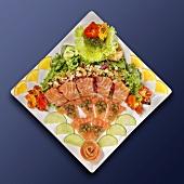 Sashimi platter with salad