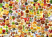 Colourful mixture of foods and dishes