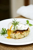 Fish cake (with potato and haddock) with poached egg