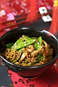 Chinese egg noodles with chicken breast and vegetables