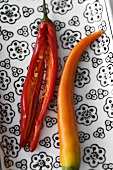 Chillies, whole and slit open