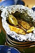 Grilled bananas in aluminium foil
