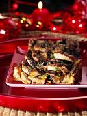 Mushroom and black pudding tart