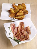 Fried bacon rashers and toasted bread