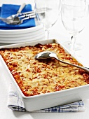Baked canneloni in the baking dish