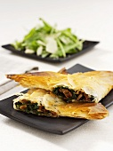 Filo pastry with spinach and tomato filling