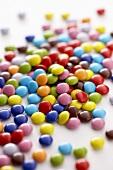 A heap of coloured chocolate beans