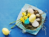 Eggs in Easter nest with narcissi and hay
