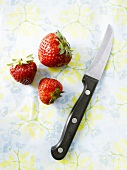 Three strawberries and a vegetable knife