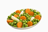 Mixed vegetables: peas, carrots and asparagus