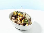 Lukewarm matjes herring fillet with beetroot salad