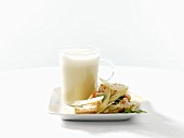 Potato and fennel soup with shrimp salad