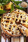 Apple tart with ginger and marzipan lattice