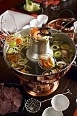 Mongolian pot for Chinese fondue (hot pot)