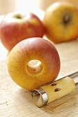 Fresh apples with apple corer