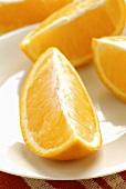 Orange quarters on a plate