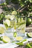 Three glasses of lime water with wormwood