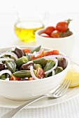 Okra salad with tomatoes and olives